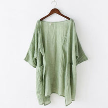 Load image into Gallery viewer, light green linen coat plus size casual blouse bracelet sleeved cardigans