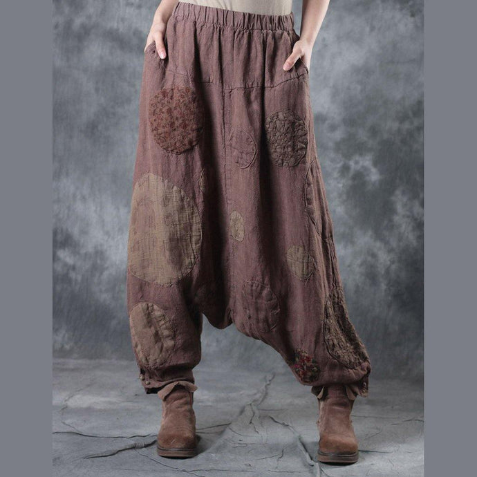 light knaki casual linen pants oversize patchwork wide leg pants