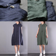 Load image into Gallery viewer, navy casual linen dresses plus size button sundress short sleeve maxi dress