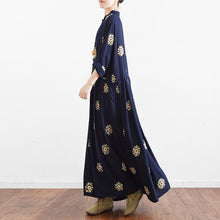 Load image into Gallery viewer, navy summer linen maxi dress vintage oversize baggy dresses print casual caftans