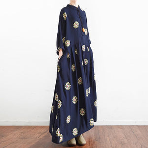 navy summer linen maxi dress vintage oversize baggy dresses print casual caftans