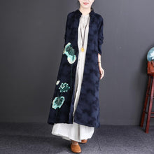 Load image into Gallery viewer, new 2018 casaul navy embroidery linen cardigan oversize fashion women maxi trench coats