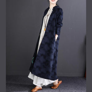 new 2018 casaul navy embroidery linen cardigan oversize fashion women maxi trench coats