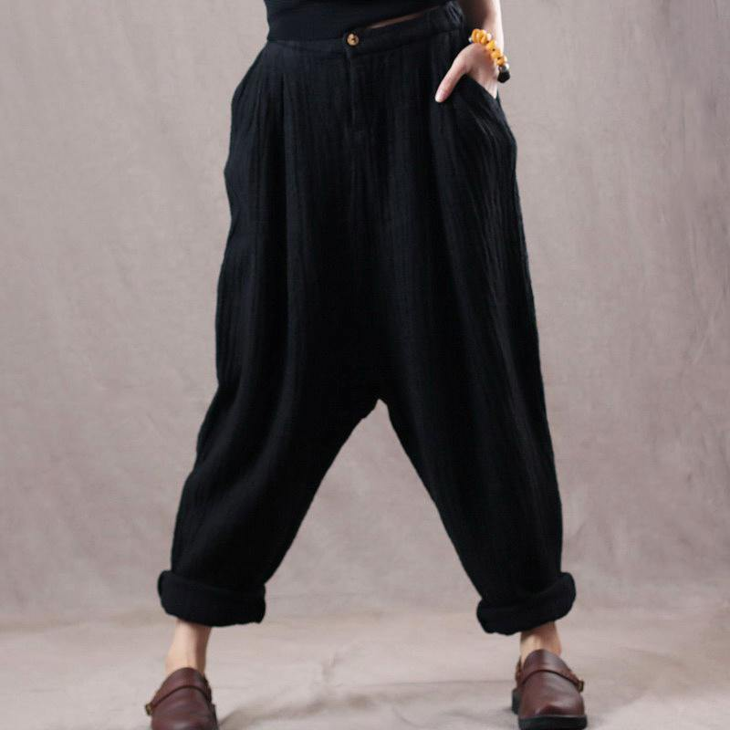 new black oversize linen trousers women vintage pants