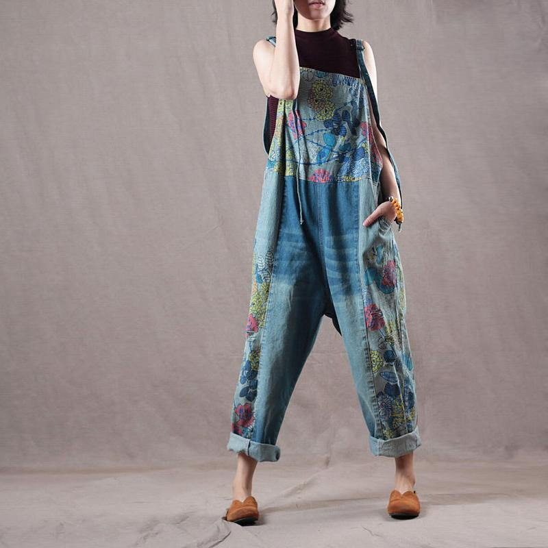 new blue prints denim trousers women baggy cotton casual jumpsuit pants