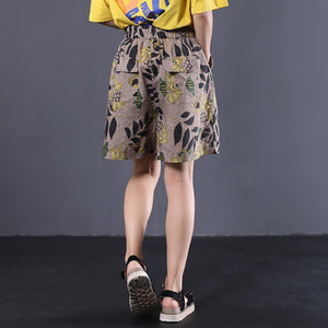 new female loose vintage printing wild shorts linen pants