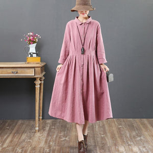 new fine pink long dresses loose casual lapel collar clothings tunic maxi dress