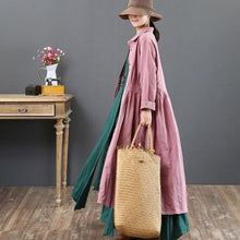 Load image into Gallery viewer, new fine pink long dresses loose casual lapel collar clothings tunic maxi dress