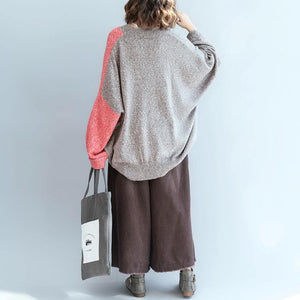 new gray patchwork red  knit sweaters oversize v neck pullover top quality loose sleeve blouse