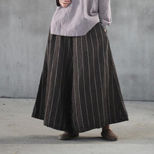 Load image into Gallery viewer, new khaki striped women linen casual pants baggy big hem wide leg pants