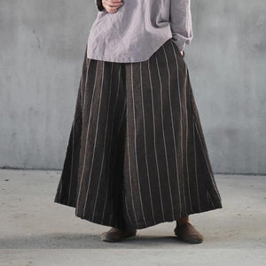 new khaki striped women linen casual pants baggy big hem wide leg pants