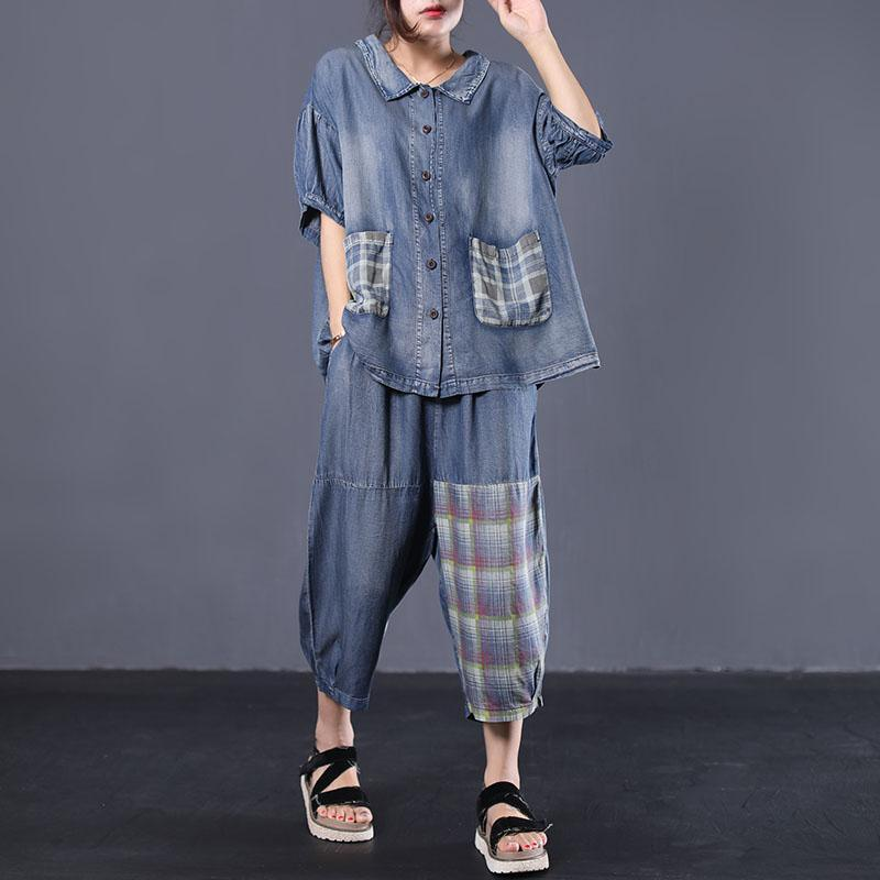 new loose literary wash old stitching denim two pieces