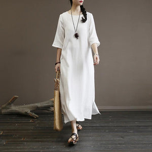 new o neck cottonn blended half sleeve side open women white summer long dress