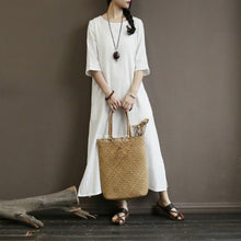 Load image into Gallery viewer, new o neck cottonn blended half sleeve side open women white summer long dress