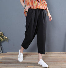 Load image into Gallery viewer, new summer black linen pockets pants women elastic waist straight pants