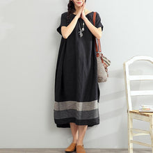 Load image into Gallery viewer, new 2017 black linen dresses plus size summer maxi dress short sleeve sundress