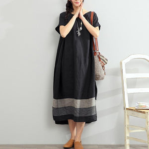new 2017 black linen dresses plus size summer maxi dress short sleeve sundress