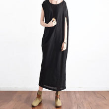 Load image into Gallery viewer, new 2017 black linen sundress oversize asymmetric maxi dress sleeveless sundress