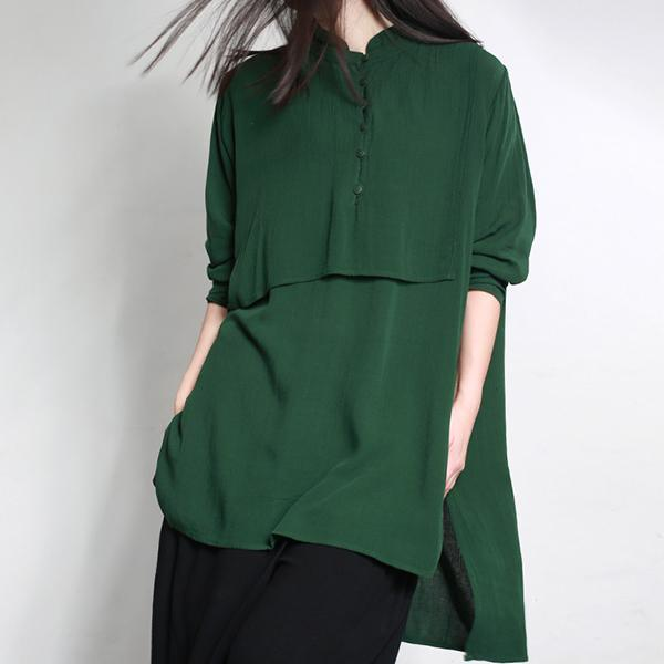 new autumn green casual cotton tops oversize side open cotton blouse