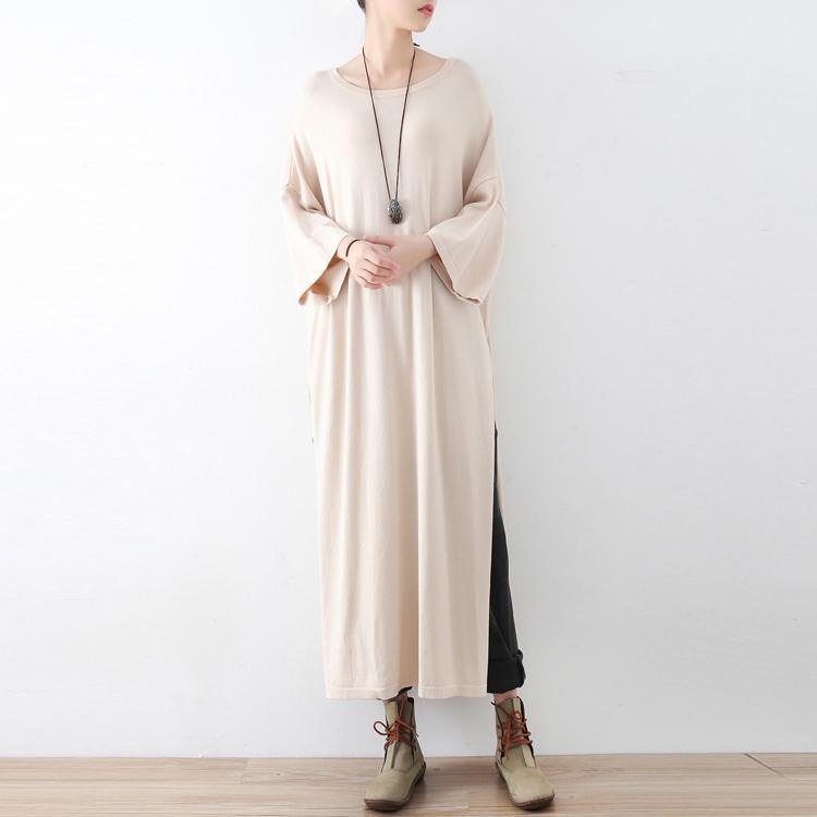 new beige fashion woolen knit dresses plus size vintage maxi sweaters dress  side high open