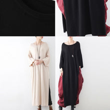 Load image into Gallery viewer, new beige fashion woolen knit dresses plus size vintage maxi sweaters dress  side high open