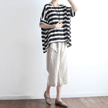 Load image into Gallery viewer, new black white striped linen summer tops casual o neck pullover batwing sleeve t shirt
