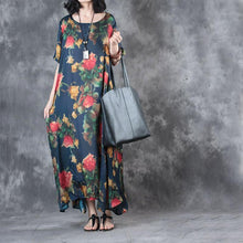 Load image into Gallery viewer, new blue print casual silk dresses oversize large hem sundress short sleeve maxi dress