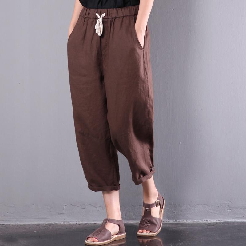 new brown loose linen pants plus size elastic waist crop pants