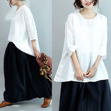 Load image into Gallery viewer, new casual blouse stylish linen summer tops short sleeve shirts