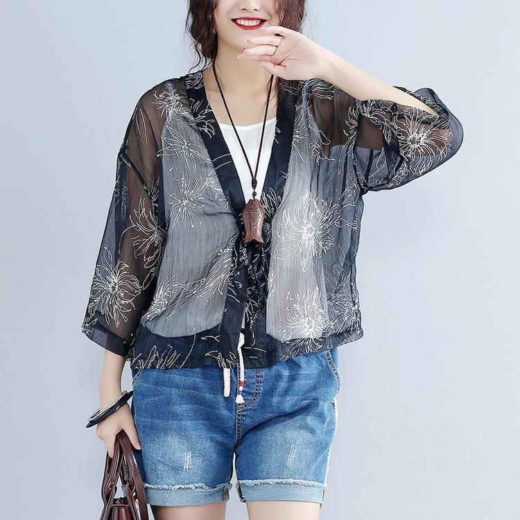 new casual gray prints silk cardigans oversize long sleeve tie bust tops