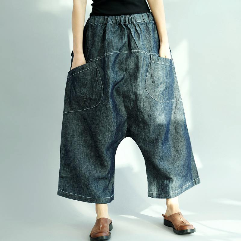 new dark denim blue casual cotton pants elastic waist stylish pants