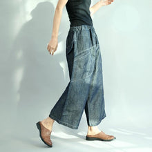 Load image into Gallery viewer, new dark denim blue casual cotton pants elastic waist stylish pants