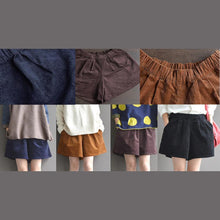Load image into Gallery viewer, new dark khaki loose retro pants corduroy shorts