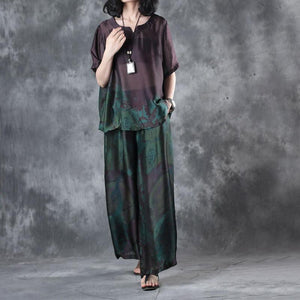 new dark purple vintage two pieces plus size pullover shits and wide leg pants skirt
