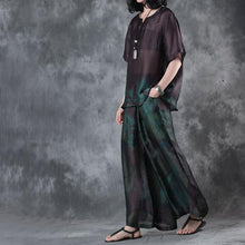 Load image into Gallery viewer, new dark purple vintage two pieces plus size pullover shits and wide leg pants skirt