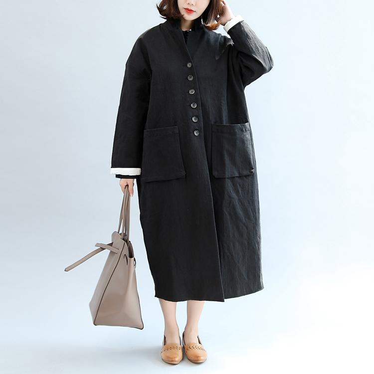 new fall black stylish linen outwear plus size casual maxi coat