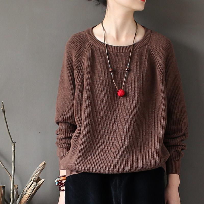 new fall brown top quality knitwear pullover loose casual sweater tops