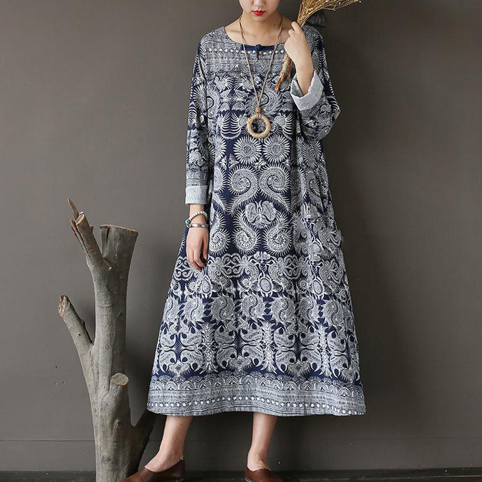 new fall dark blue print cotton dresses plus size casual long sleeve maxi dress