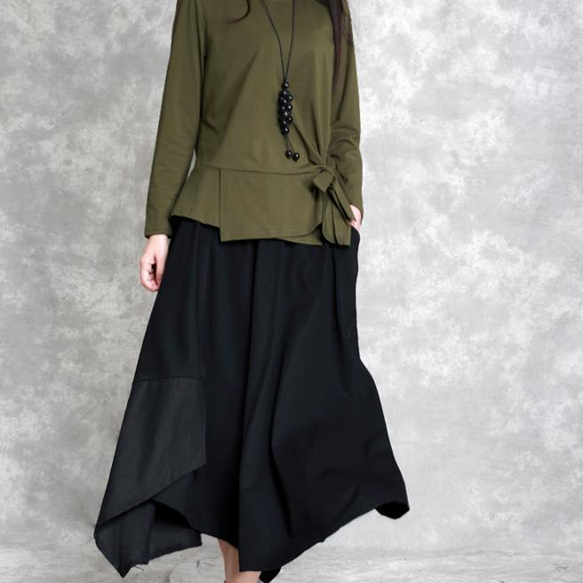 new fashion black cotton linen skirt patchwork loose bia hem skirts