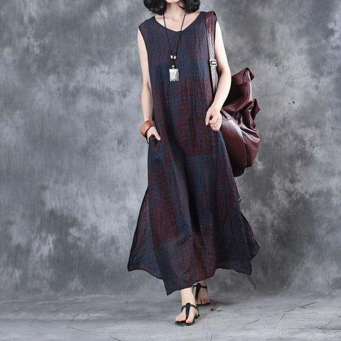 new fine linen red print linen dresses plus size casual sundress sleeveless maxi dress side open