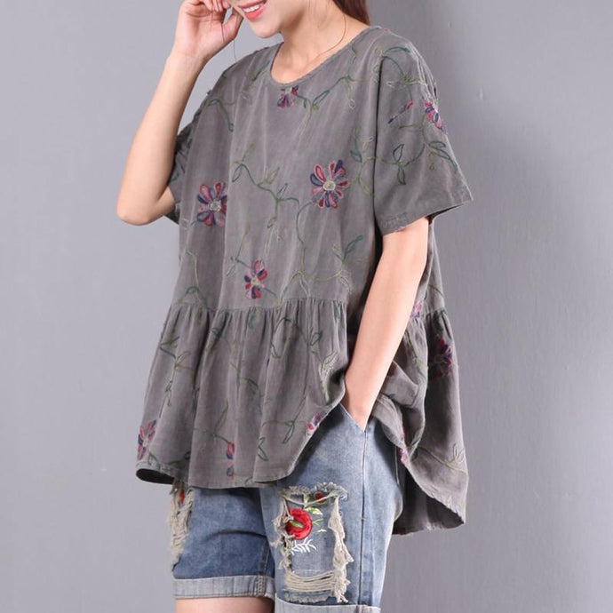 new gray embroidery linen tops oversize casual t shirt