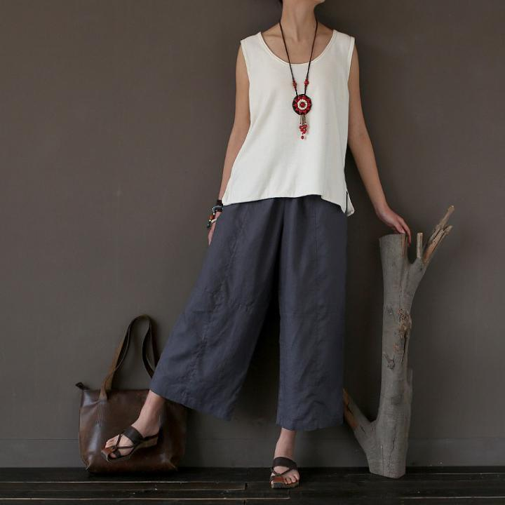 new  gray stylish linen wide leg pants oversize crop pants