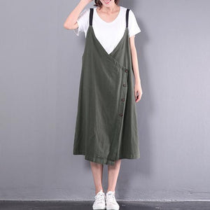 new green casual linen dresses plus size sleeveless dress