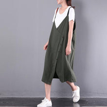 Load image into Gallery viewer, new green casual linen dresses plus size sleeveless dress