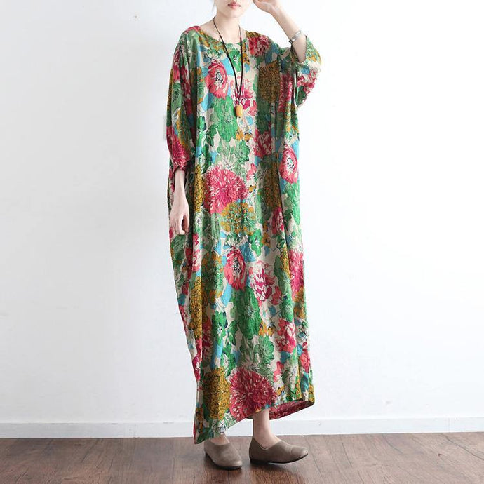 new green prints linen dresses plus size vintage casual caftans long sleeve maxi dress