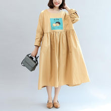 Load image into Gallery viewer, new khaki cartoon patchwork cotton maxi dresses oversize long sleeve women dress