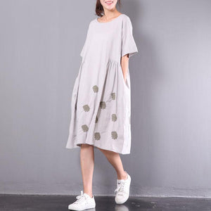 new light gray embroidery linen dresses plus size unique sundress short sleeve wrinkled mid-dress
