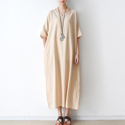 new nude casual linen dress oversize stylish sundress short sleeve maxi dress