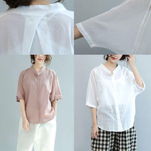 Load image into Gallery viewer, new pink casual cotton hollow out tops plus size blouse batwing sleeve shirt
