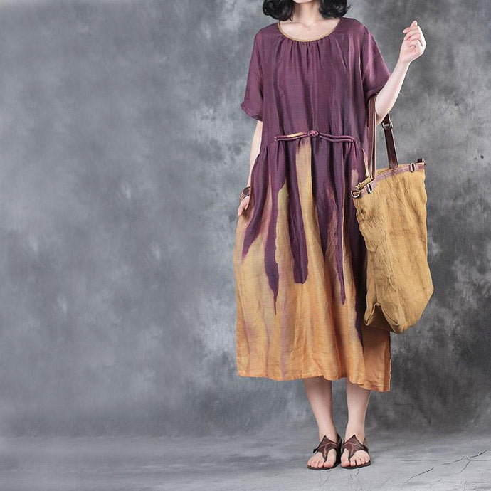 new purple patchwork yellow linen dresses plus size elastic waist sundress Chinese Button short sleeve maxi dress